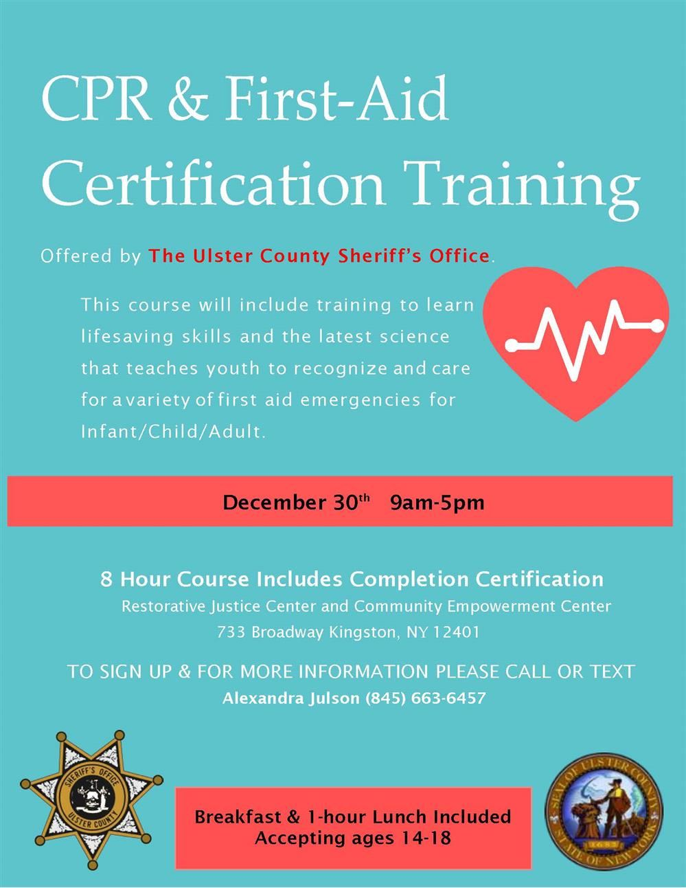 Ulster Sheriff's CPR/AED Winter Series Flyer