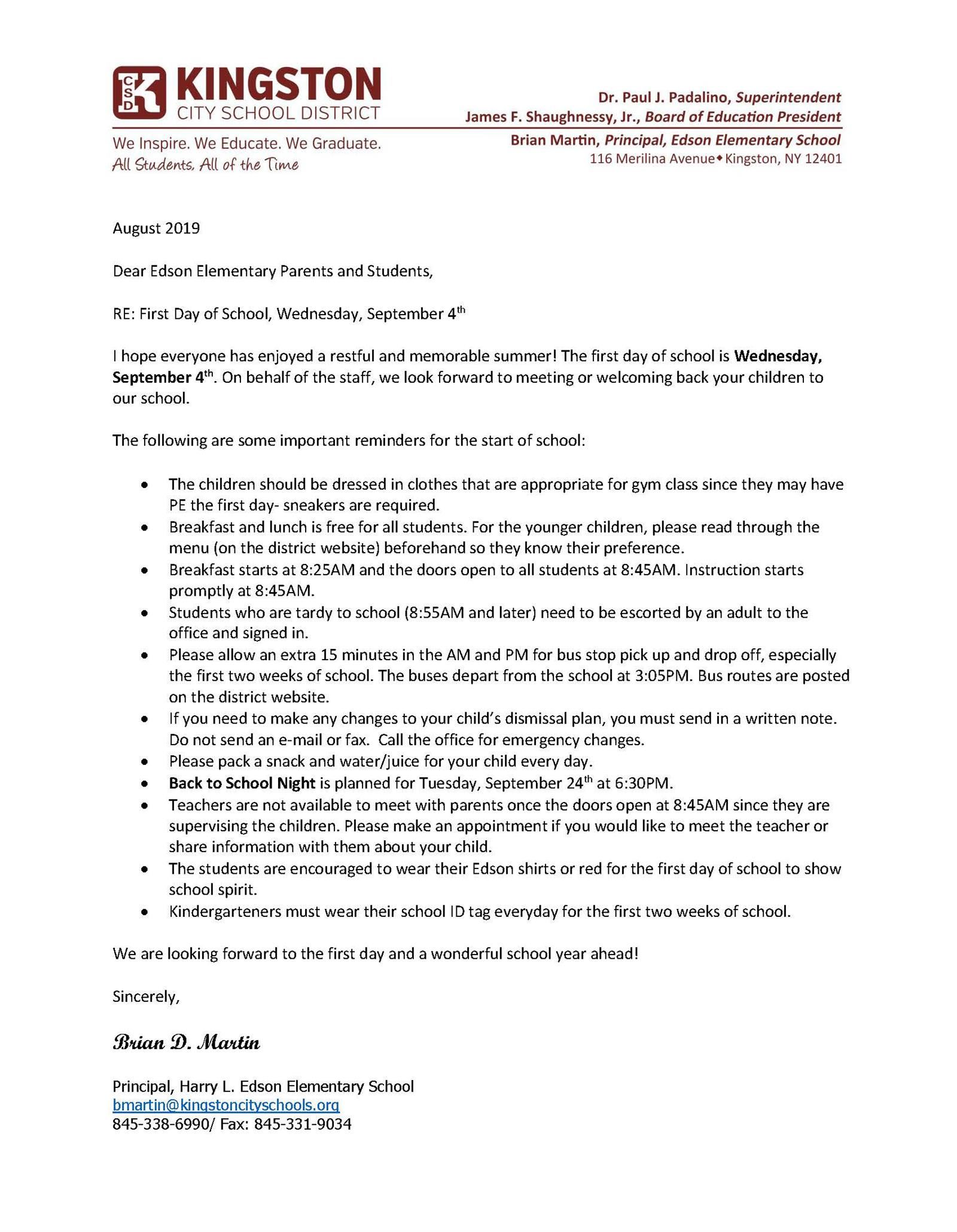 2019-2020 Welcome Back Letter