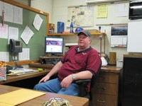Head Custodian Don Stoutenburg at the KHS command center
