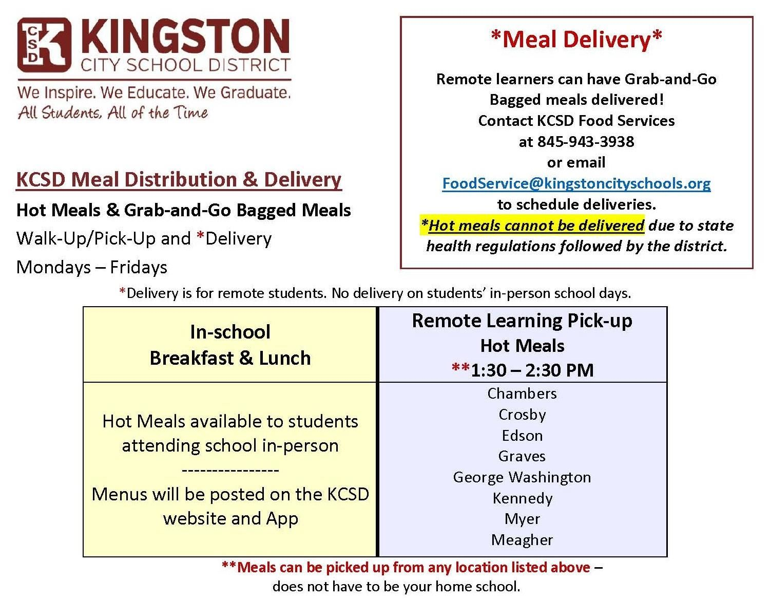 KCSD Meal Distribution Info