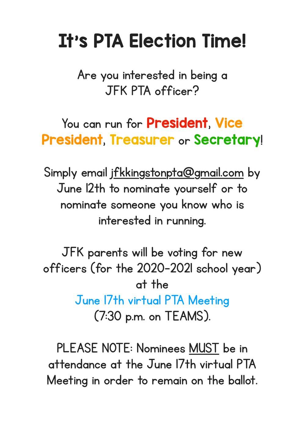Picture of: Jfk Pta Elections