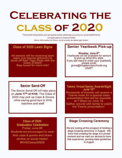 June events for the Class of 2020