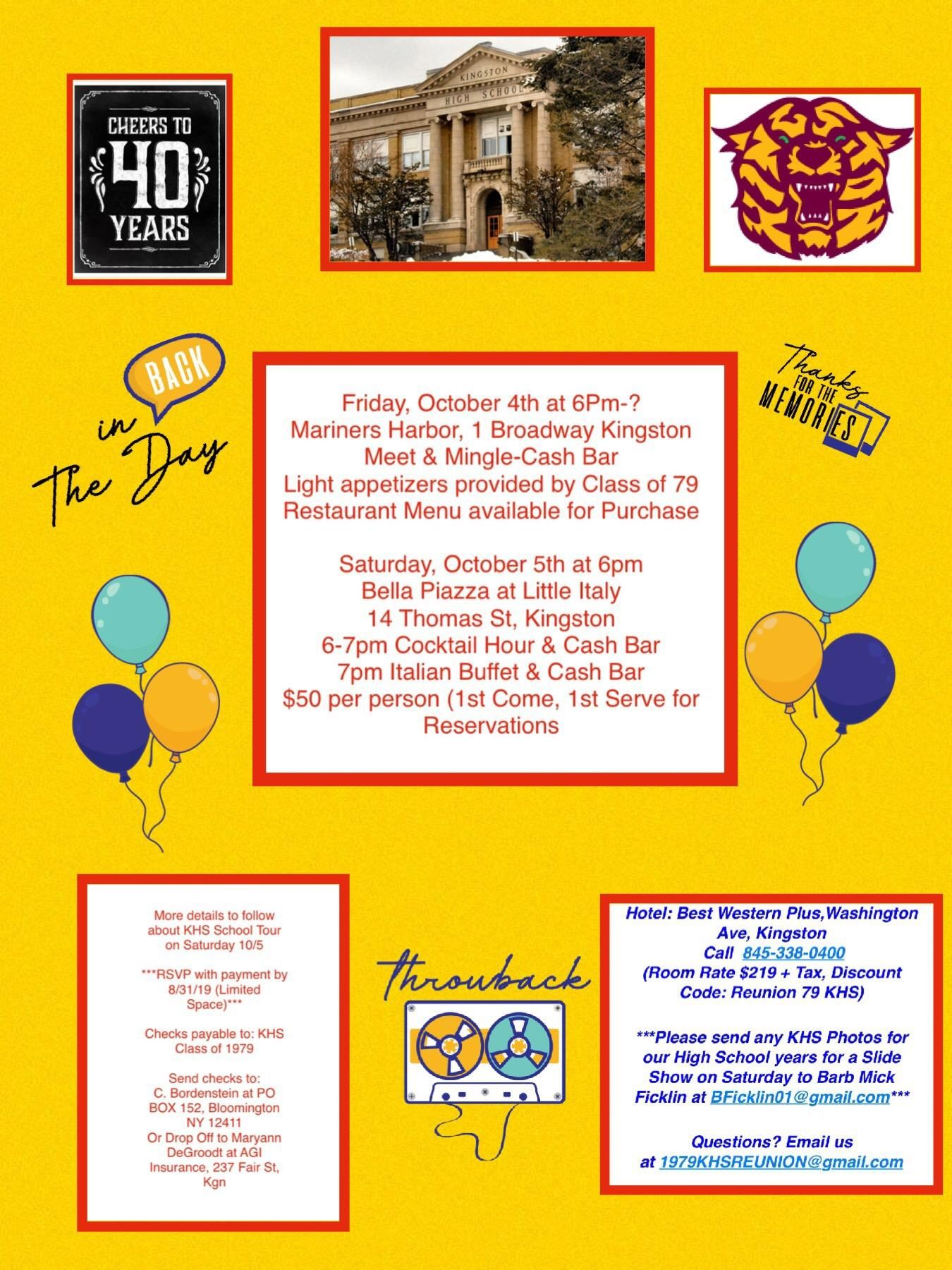 Class of 1979 40th Reunion Flyer
