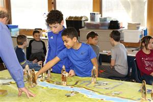 Students playing History on Wheels game