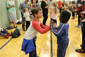 Eson students dancing at Family Folk Night