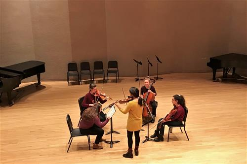 KHS Chamber Orchestra Quartet in a coaching session