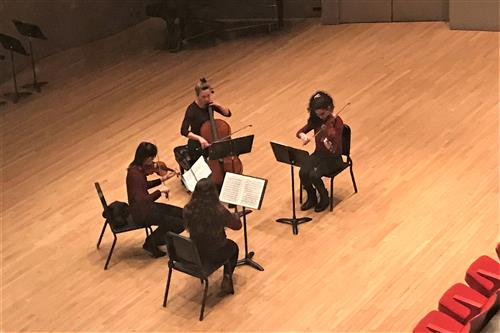 KHS Chamber Orchestra Quartet rehearse for Regional Concert