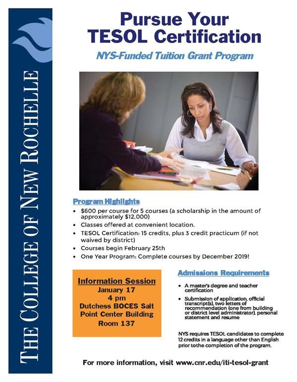 TESOL Certification Grant Program Flyer