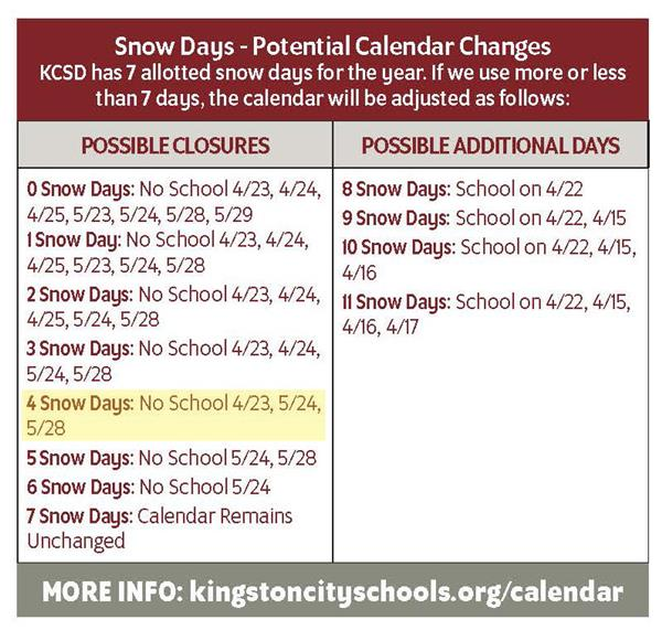Snow Day Potential Calendar Changes